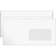 Конверт E65 с окном (110х220 мм) ск, фон, 80 г/м2, белый
